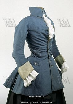 Blue camblet riding jacket. Britain, 1730-50