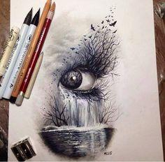 рисунок,карандаши,глаз