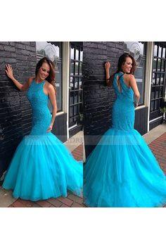Hot Sale O Neck Tulle Sweep Train Sleeveless Blue Trumpet Mermaid Prom Evening Dress Os0842