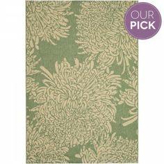 Green & Beige Chrysanthemum Indoor/Outdoor Rug