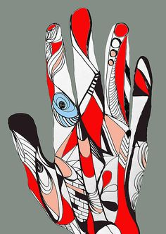 Digital art drawing - Open hand (2015) Ink on paper (digital colors)  ©Simone Guimaraes