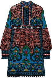 Mini-robe en mousseline de soie imprimée