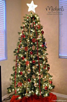 Red and Gold Christmas Tree by  Night Owl Blog