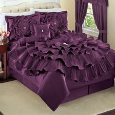 Romance Bed 5-Pc Comforter Set Collection white, purple, red, and gold.....I want!!!! From Brylane home.....mdb