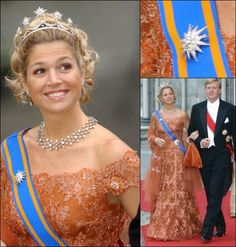 Princess Maxima (now Queen Maxima) with Prince Willem Alexander at the wedding of Princess Martha Louise of Norway and Ari Behn in 2002