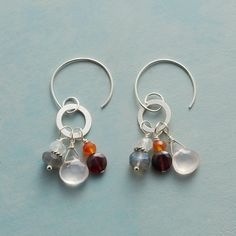 MORE THAN GARNET EARRINGS -- Flattened sterling silver hoop earrings drip with an array of gemstones