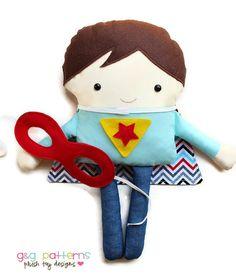 Superhero Sewing Pattern - Supergirl and Superboy Toy Doll Softie Pattern - PDF Sewing Pattern