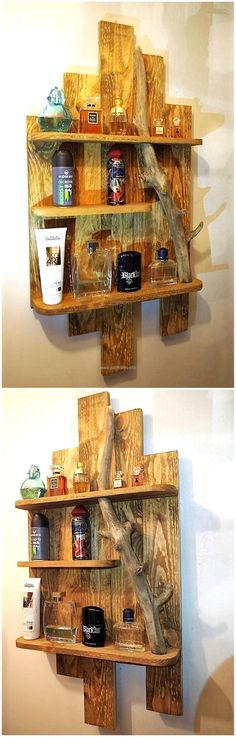 There is no limit of designs in which the wood pallets can be modified and one of the outstanding ideas is to create a reclaimed wood pallet shelf art with this style to decorate an area in the home or office.