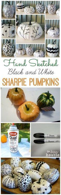 Hand Sketched Sharpie Pumpkins - The Happy Housie