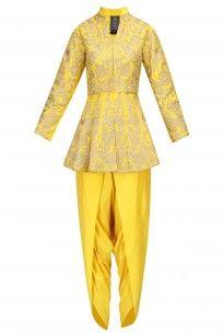 Yellow Zari Work Peplum Short Kurta with Dhoti Pants
