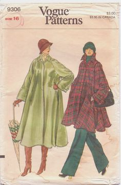 70s Vogue Pattern 9306 Womens Swing Coat in 2 by CloesCloset, $8.00