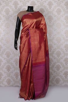 #Red & #purple with #gold pure kanchipuram silk amazing saree with purple border -SR11399