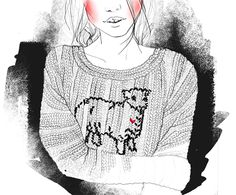 Pencil sketch and photoshop by Une tisane et au lit, Girl with knitted jumper and pink cheeks