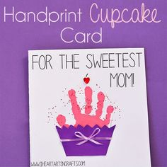 Some of the best gifts for Mother's Day are the special keepsakes that our kids make us. Our favorite keepsake crafts are handprint & footprint art, it's so fun to see how much they grow from year to year. And our latest handprint art includes this super sweet cupcake card perfect for Mother's Day or … #artsandcraftsgifts,