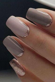 Classy but Unique Wedding Manicure Rose Gold Gel Nail Art Design for the Bride … - Nail Art Designs Trendy Nails, Cute Nails, My Nails, Classy Nails, Fancy Nails, Elegant Nails, Polish Nails, Sophisticated Nails, Neutral Wedding Nails