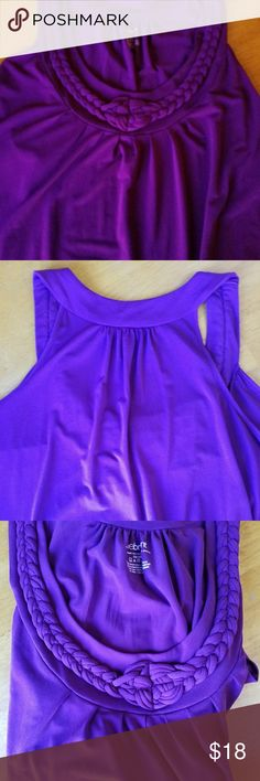 """Lane Bryant Plum colored sleeveless blouse Lane Bryant roomy & flowy Plum colored sleeveless blouse. Color is correct on first and second photo. The light was playing with color making it appear lighter but it's a plum color. Really excellent condition. Works as casual Friday dress clothing or with shorts for regular warm weather wear. 95% polyester and 5% spandex. Size 18-20.Bust 22"""". Length 28"""". Arm hole about 12"""". Lane Bryant Tops Blouses"""