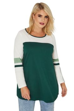Green Color Block Long Sleeve Plus Size Tops