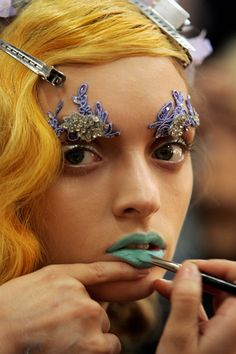 mint lips, applique brows...   ...strawberry blonde hair makes me want to go brass!