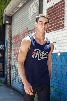RVCA blue tank top for urban athletic style.