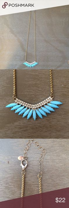 EUC rhinestone and blue statement necklace EUC rhinestone and blue statement necklace. Worn once and purchased from a local boutique. All rhinestones and stones intact. Adjustable lobster clasp closure. Boutique Jewelry Necklaces