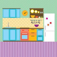 Kitchen interior illustration Free Vector