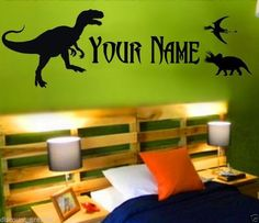 DINOSAUR PERSONALIZED NAME DECAL STICKER BOYS WALL ART T REX RAPTOR DINO BOSS