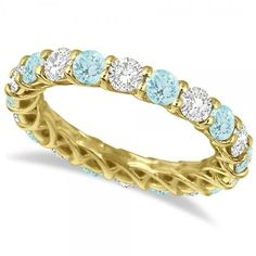 14k Gold 4 1/5ct TW Diamond and Aquamarine Eternity Ring Band (G-H, SI1-SI2) (14k Yellow Gold - Size 4.5), Women's, Blue