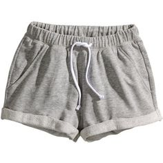 Shorts in marled sweatshirt fabric with an elasticated drawstring waist, side pockets, and sewn-in turn-ups at the hems. Cute Lazy Outfits, Teenage Outfits, Sporty Outfits, Mode Outfits, Fashion Outfits, Comfy Shorts, Lounge Shorts, H&m Shorts, Grey Shorts