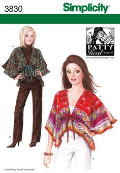 """Simplicity 3830 Sewing Pattern """"Patty Reed Designs"""" Misses """"Wrap"""" and Pants by CarlasHope on Etsy Kwik Sew Patterns, Easy Sewing Patterns, Shawl Patterns, Simplicity Sewing Patterns, Vintage Patterns, Sewing Ideas, Sewing Tips, Sewing Tutorials, Sewing Crafts"""