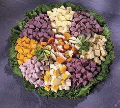 Meat and cheese appetizer party platter // Also fruits and veggies for people like meeeee