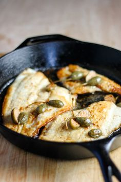 Lemon Sole with Caper Berries - the lemon sole is coated in flour and then cooked in a skillet until golden. A brown butter sauce is created by combining butter, lemon and caper berries. Seafood Recipes, Dinner Recipes, Cooking Recipes, Dinner Ideas, Crab And Lobster, Fish And Seafood, Caper Berries, Brown Butter Sauce, Dinners