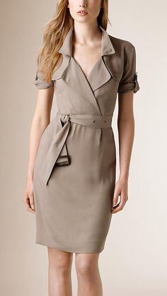 Mink gGey Wrap-Front Silk Blend Dress - A lightweight dress in silk blend with a wrap front. The classic point collar, double gun flaps and a leather-buckle belt reference heritage designs. Discover the women's dress collection at Burberry.com