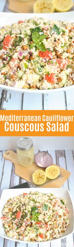 Mediterranean Cauliflower Couscous Salad is a healthy recipe with fresh summer vegetables and herbs, roasted chickpeas and a homemade lemon feta vinaigrette. This makes a great dinner all on its own or pair with chicken for a well-rounded meal. Salad Recipes, Vegan Recipes, Delicious Recipes, Meatless Recipes, Drink Recipes, Cooking Recipes, Healthy Salads, Healthy Eating, Healthy Food