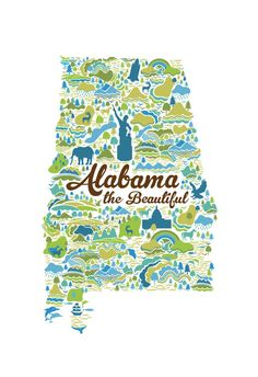 Alabama the Beautiful print. $25.00, via Etsy. Use with the Ding Dong Daddy unit and Alabama History