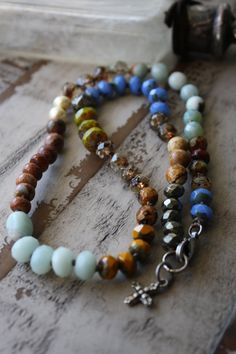 Bohemian Rustic / Colorful Unique Earth Tone Layering Hand Knotted / Semi Precious Mixed Stone Hand Knotted / Cross Charm Necklace