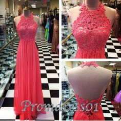 Prom dresses long, backless coral lace prom dress for teens #coniefox #2016prom