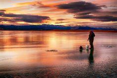 Antero Reservoir Ice Fishing Sunset.