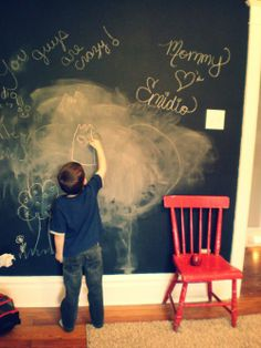 A giant chalkboard wall in the playroom....in my opinion, theyll never outgrow this :)