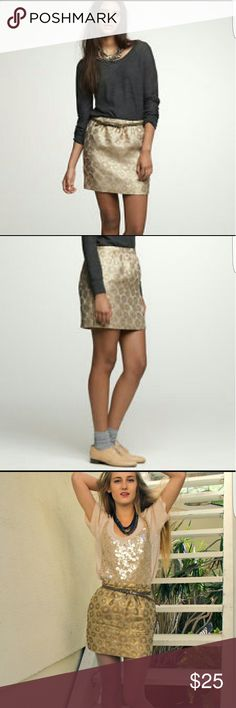 J. CREW Gold Brocade Mini Skirt 4 EUC. Gold brocade skirt. Lined and zips up the back. Length 15 J. Crew Skirts Mini