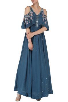EK SOOT Dusky Blue Embroidered Anarkali Gown. Shop now! #eksoot #duskyblue #embroidered #anarkali #ethnic #fashion #indianfashion #indiandesigners #perniaspopupshop #happyshopping