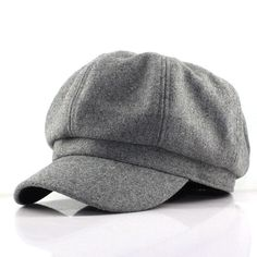 England Solid Color Wool Octagonal Cap  Winter Brim Hat Casual Versatile Young MEN Young Men, Brim Hat, England, Cap, Wool, Winter, Casual, How To Wear, Style