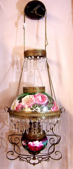 Antique Victorian Chandelier Oil Parlor Hanging Lamp Crystals Floral Electric | eBay