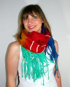 Hand Felted SCARF COBWEB Delicate Fancy scarf by WojciechowskaArt, $61.00