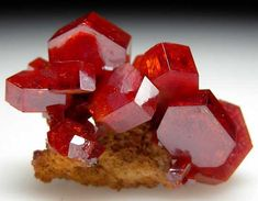Vanadinite- is a mineral belonging to the apatite group of phosphates, with the chemical formula Pb5(VO4)3Cl. It is one of the main industrial ores of the metal vanadium and a minor source of lead.  Mibladen, Morocco  thumbnail - 3 x 2 x 1.5 cm
