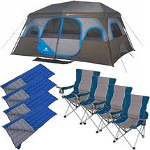 Walmart Ozark Trail 10 Person Tent with 4 Chairs and 4 Sleeping Bags Value Bundle  sc 1 st  Pinterest & $179.97 Ozark Trail 10-Person 2 Room Instant Cabin Tent sets up ...