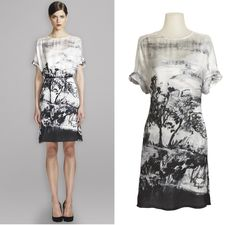 Worth New York - Spring 2013 Lookbook: White and Navy Border Landscape Print Crepe De Chine Dress $598