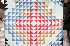 Large Arrow Quilt - Black, Chambray, Melon, Gold, Red and Cream / Cortney Heimerl