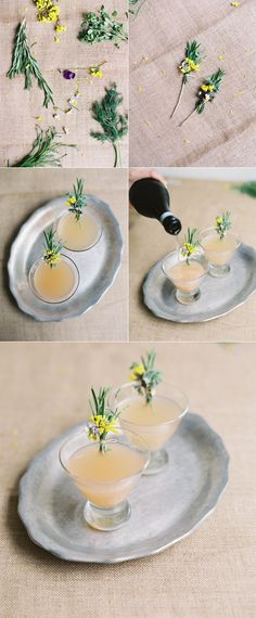 Grapefruit Cocktail Recipe with Herbal Boutonnieres via oncewed.com