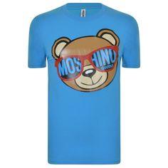 MOSCHINO Swim Teddy Bear T Shirt ($105) ❤ liked on Polyvore featuring tops, t-shirts, short sleeve tee, short sleeve t shirts, blue t shirt, crew t shirts and swim t shirts