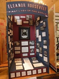 A well done,national history day exhibit display. The focal point picture, is in a old fashion frame and the other pictures ,and details, appear to pop off the poster.